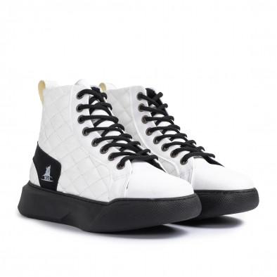 Ανδρικά λευκά ψηλά sneakers με καπιτονέ tr050121-2 3