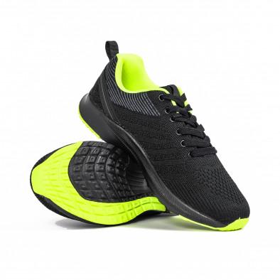 Ανδρικά μαύρα και νέον αθλητικά παπούτσι it270320-20 4