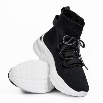 Γυναικεία μαύρα ψηλά sneakers κάλτσα it161220-15 4