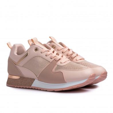 Γυναικεία ροζ sneakers με λεπτομέρεια glitter it110221-7 4