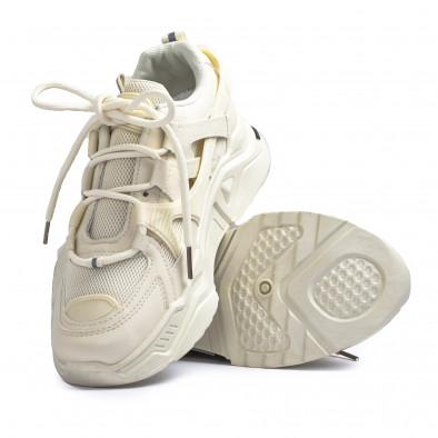 Γυναικεία μπεζ Chunky sneakers με δίχτυ it110221-10 4