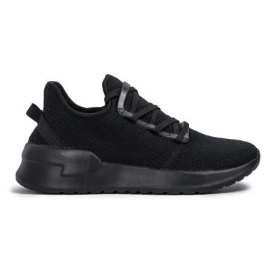 Ανδρικά μαύρα sneakers κάλτσα Lace detail it260620-9 2