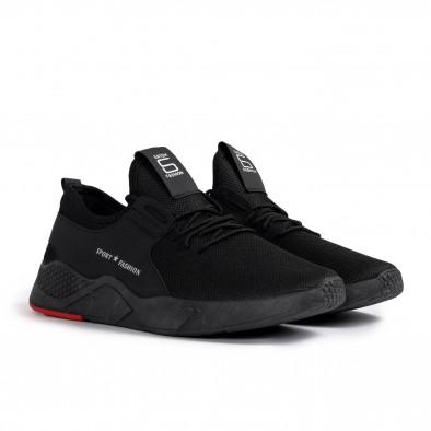 Ανδρικά μαύρα sneakers με κόκκινη λεπτομέρεια gr020221-1 4