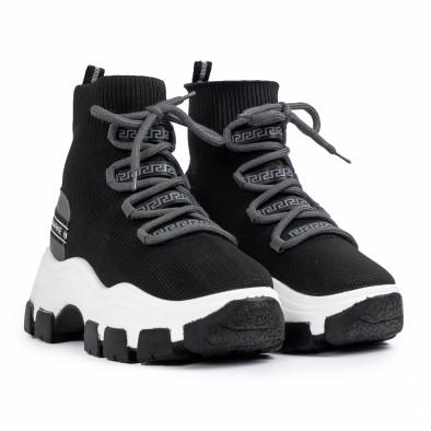 Γυναικεία μαύρα sneakers μποτάκια κάλτσα tr231020-2 3