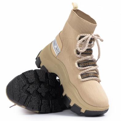Γυναικεία μπεζ sneakers μποτάκια κάλτσα tr231020-3 4