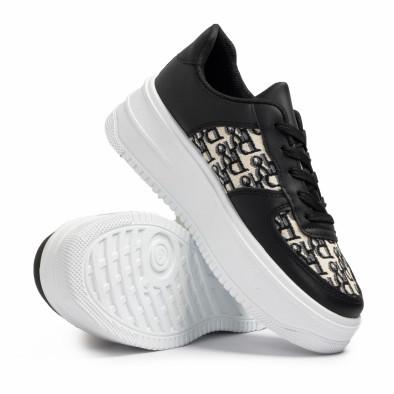 Γυναικεία μαύρα sneakers με πλατφορμα it110221-3 4