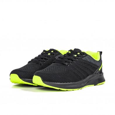 Ανδρικά μαύρα και νέον αθλητικά παπούτσι it270320-20 3