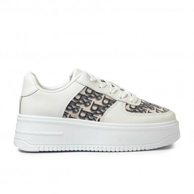 Γυναικεία λευκά sneakers με πλατφορμα it110221-4 2