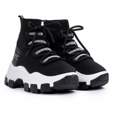 Γυναικεία μαύρα sneakers μποτάκια κάλτσα tr231020-1 3