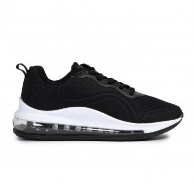 Ανδρικά μαύρα αθλητικά παπούτσια με σόλες αέρα it300920-52 2