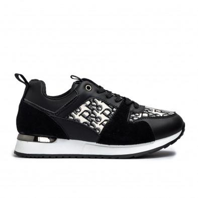 Γυναικεία μαύρα sneakers σε συνδυασμό υλικών it110221-12 2
