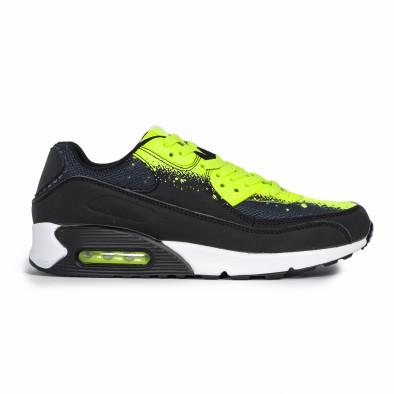 Ανδρικά μαύρα αθλητικά παπούτσια Splash neon it140720-11 2