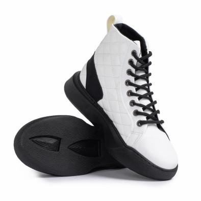 Ανδρικά λευκά ψηλά sneakers με καπιτονέ tr050121-2 4