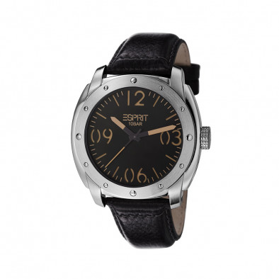 Ανδρικό ρολόι Esprit Black Dial Black Leather