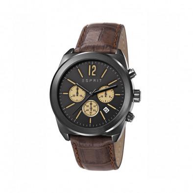 Ανδρικό ρολόι Esprit Black Dial Brown Leather