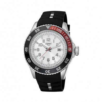 Ανδρικό ρολόι Esprit ES White Dial Black Rubber Quartz Watch