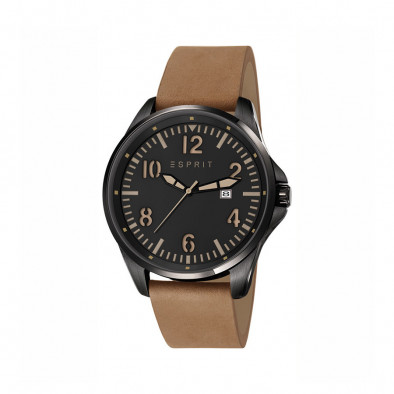 Ανδρικό ρολόι Esprit Black Dial Brown Leather Quartz