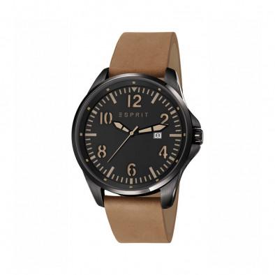 Ανδρικό ρολόι Esprit Black Dial Brown Leather Quartz