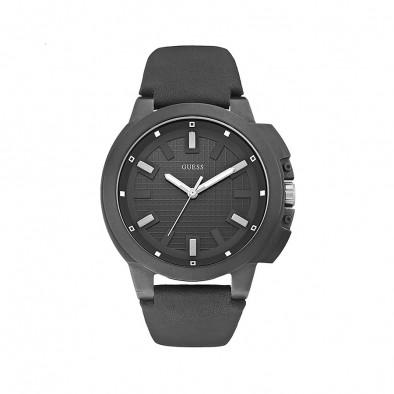 Ανδρικό ρολόι Guess leather strap watch W0382G1