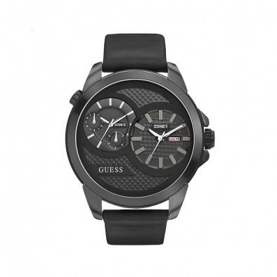 Ανδρικό ρολόι Guess Black Dual Time W0184G1