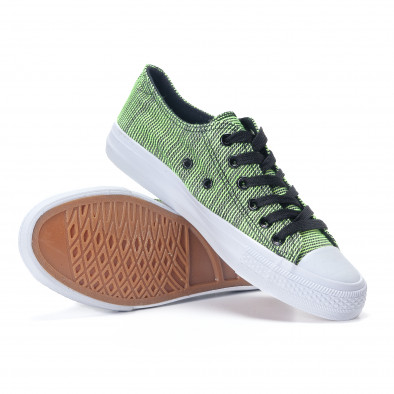 Γυναικεία υφασμάτινα sneakers με πράσινες και μαύρες ρίγες it240118-12 4