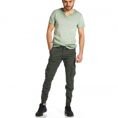 Ανδρικό πράσινο παντελόνι cargo Plus Size tr270421-11 4