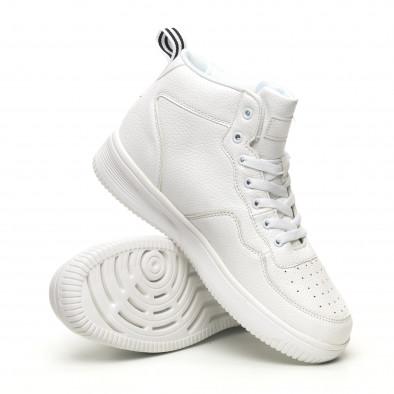 Ανδρικά ψηλά λευκά sneakers με Shagreen design it251019-17 4