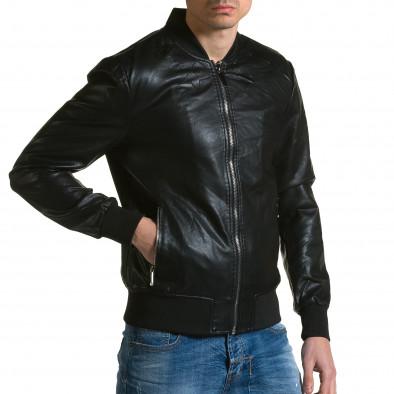 Ανδρικό μαύρο μπουφαν δερματινη X-Feel ca190116-33 4