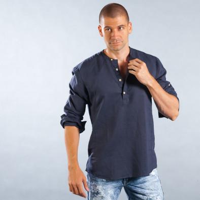 Ανδρικό μπλε πουκάμισο χωρίς γιακά από καλοκαιρινό ύφασμα it050618-10 2 ... 9ec96813f72