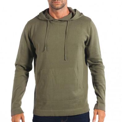 Ανδρικό πράσινο πουλόβερ με κουκούλα RESERVED lp070818-70 2