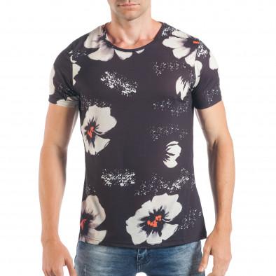 Ανδρική σκούρα μπλε κοντομάνικη μπλούζα με λευκά λουλούδια tsf250518-52 2  ... 6f7a3800a02