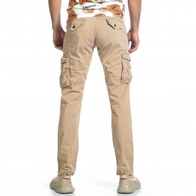Ανδρικό μπεζ παντελόνι cargo σε ίσια γραμμή Plus Size tr270421-16 3