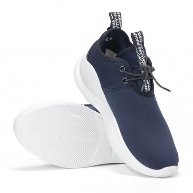 Ανδρικά μπλε αθλητικά παπούτσια νεοπρένιο ύφασμα  it160318-31 4