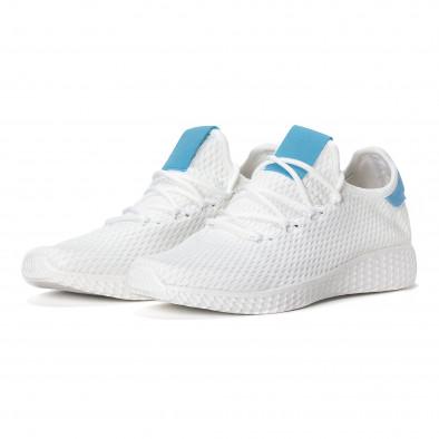 Ανδρικά λευκά ελαφρία αθλητικά παπούτσια με γαλάζιες λεπτομέρειες it240418-27 3