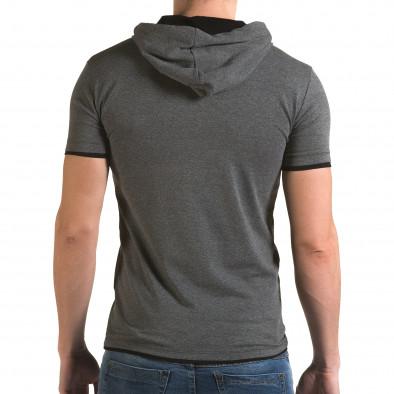 Ανδρική γκρι κοντομάνικη μπλούζα Lagos il120216-58 3