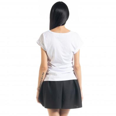 Γυναικεία λευκή κοντομάνικη μπλούζα με πριντ il080620-5 3