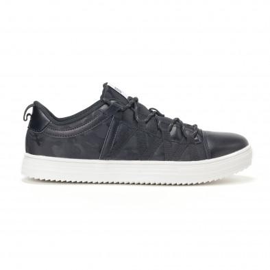 Ανδρικά μαύρα sneakers παραλλαγής με κορδόνια it160318-7 2