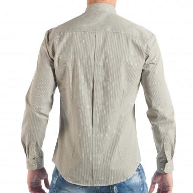 Ανδρικό μπεζ πουκάμισο με κλασικό πριντ it050618-12 3