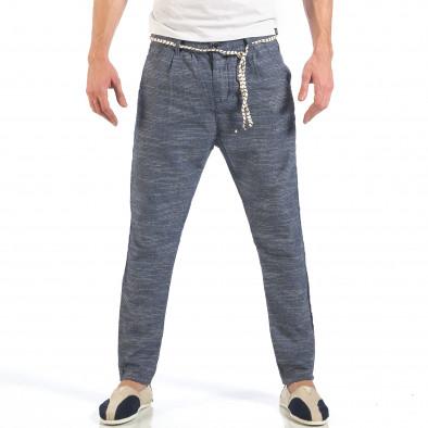 Ανδρικό γαλάζιο παντελόνι με κορδόνι it260318-108 2