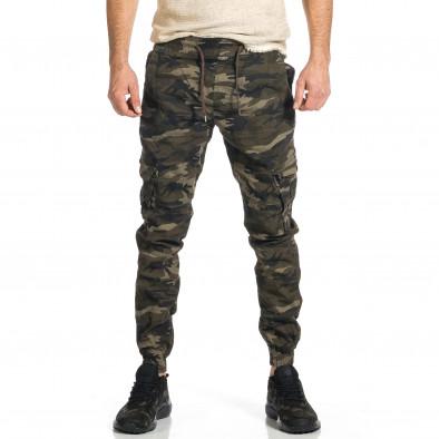 Ανδρικό μπεζ-πράσινο καμουφλαζ παντελόνι cargo tr270421-7 2