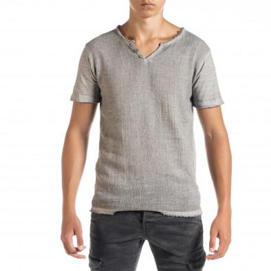 Ανδρική γκρι κοντομάνικη μπλούζα Duca Homme it010720-27 2