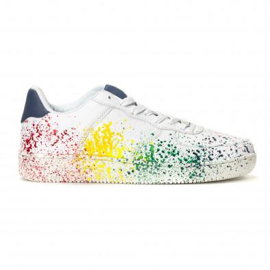 Ανδρικά λευκά sneakers με πολύχρωμο εφέ σπρέι it240418-25 2