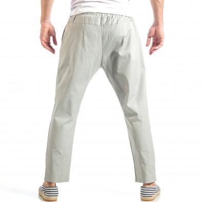 Ανδρικό γκρι ελεύθερο παντελόνι με λάστιχο it040518-18 4