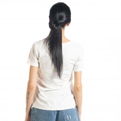 Γυναικεία λευκή κοντομάνικη μπλούζα με απλικέ il080620-6 3
