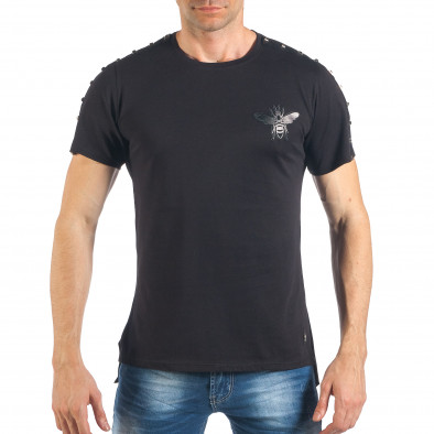 Ανδρική μαύρη κοντομάνικη μπλούζα με σχέδιο it260318-186 2
