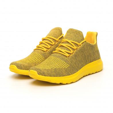 Ανδρικά κίτρινα μελάνζ αθλητικά παπούτσια με διακόσμηση it171019-2 4