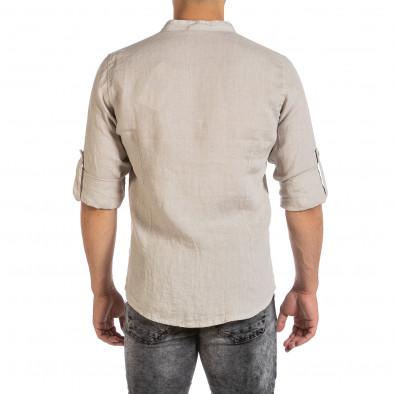 Ανδρικό μπεζ λινό πουκάμισο Duca Fashion it240621-25 3