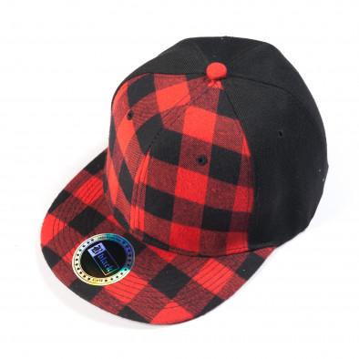 Ανδρικό μαύρο καπέλο με κόκκινο καρέ it050618-74 2