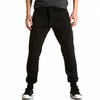 Ανδρικό μαύρο παντελόνι jogger DelPiero ca190116-25 2