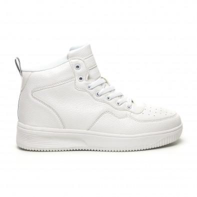Ανδρικά ψηλά λευκά sneakers με Shagreen design it251019-17 2
